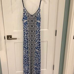 Blue + navy tribal maxi dress